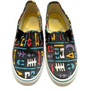 Keds Black Ethnic Print Slip-On Sneakers